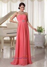 Watermelon Empire Chiffon Prom Dress Pleating