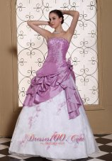 Beading Taffeta and Organza Prom Dress Ruffles Appliques