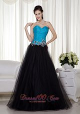 A-line Blue and Black Taffeta and Tulle Prom Dress