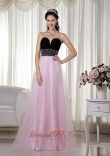 Pink and Black Beading Prom Dress Taffeta and Tulle