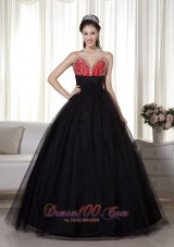 Black and Red Beaded Decorated Tulle and Taffeta Prom Dress