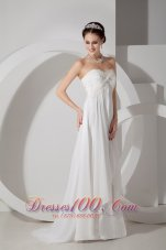 Maternity Wedding Dress Empire Appliques and Ruch Brush Train
