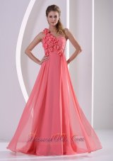 Floral Trimmed One Shoulder Ruched Overlay Prom Gowns
