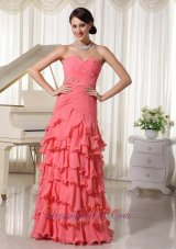 Watermelon Red Prom Holiday Dress Layered Beading Ruch