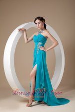 Discount Teal Prom Dress 2013 Column Sweetheart