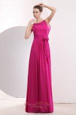 Hot Pink Prom Dress Bateau Chiffon Sash Scoop