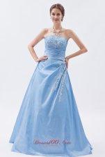 Baby Blue Appliques Prom Dress Sheath Cheap