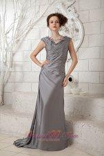 Popular Column Gray V-neck Prom Dress Ruch Brush