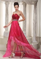 Pink and Wine Red Prom Dress High-low Beading