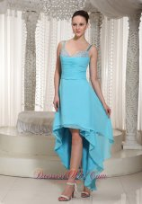 High-low Aqua Dress For Formal Evening Straps Beaded