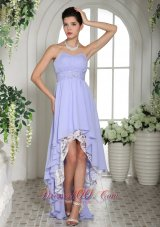 Customize Prom Dress Lilac Chiffon Beaded High-low
