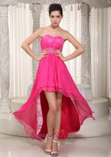 Hot Pink High-low Beading Prom Evening Dress Lace