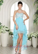 Aqua Blue Prom Dress Appliques High-low Layers