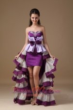 Multi-Color High-low Prom Dress Beading Ruffles Bow