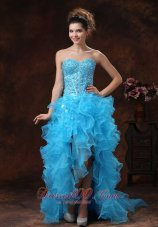 Hi-lo Blue For Sassy Prom Dress Beaded and Ruffles