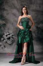 Elegant Green High Low Prom Dress Beading Flowers