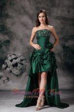 Elegant Green High Low Prom Dress Beading Flowers