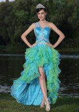 Multi-color Evening Dress High-low Ruffles