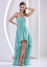 Prom Holiday Dress High-low Turquoise Beading Chiffon Layers