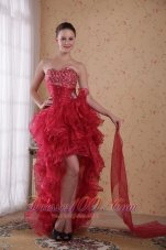 Wine Red Hi-low Beading Prom Cocktail Dress Ruffles