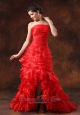 Slit Red Ruffled Layers For 2013 Prom Dress Pleats