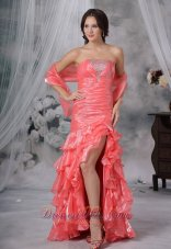 Beading Ruffles Watermelon High Slit Prom Dress