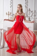 Homecoming Dress Beading High-low Chiffon For Club