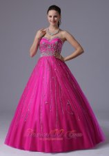 Fuchsia A-line Prom Dress Crystal Over