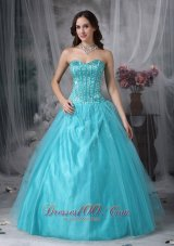 A-line Aqua Blue Quinceanera Dress Beading