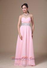 Beaded Chiffon Pink Empire Prom Graduation Dress 2013