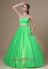 Spring Green Sweetheart Evening Dress Beading Sash