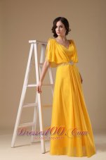Yellow Evening Dress V-neck Chiffon Beading