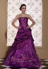 Layered Applique Cheap Graduation dress Purple