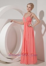 Beaded spaghetti Straps Chiffon Dress for Prom