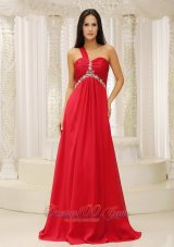 Red Chiffon One Shoulder Prom dress 2013