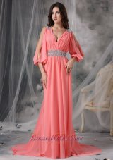 Court 3/4 Length Sleeves Beaded Watermelon Prom Dress