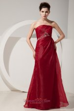 Strapless Wine Red 2014 Prom Dress Beading Decorate