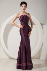 Trumpet Satin Dark Purple Prom Dress Beading Design