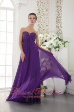 Empire Twirled Beads Prom Evening Gown Eggplant Purple