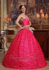 Sweetheart Rolling Flower Hot Pink Sweet 16 Dress