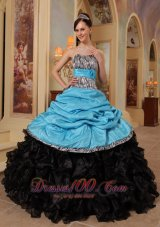Aqua Blue and Black Quinceanera Dress Zebra Print Sweethreart