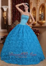 Blue Quinceanera Dress Ball Gown Strapless Rolling Flower