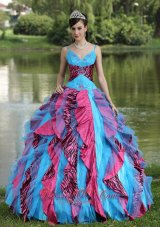Straps Beading Colorful Quinceanera Dress V-neck