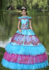 Off The Shoulder Appliques Quinces Dress Tiered