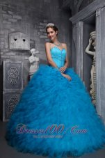 Baby Blue Sweetheart Ruffles Beading Ball Gown Quinceanera Dress