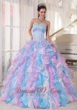 Boning Multi-color Quinceanera Dress Ruffles Floor-length