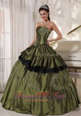 Olive Green Strapless Ball Gown Quinceanera Dress