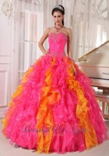 Hot Pink and Orange Beading Floral Sweet 16 Dress Ball Gown