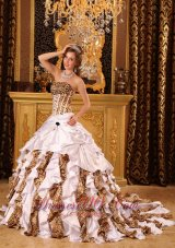 Zebra and Leopard Quinceanera Dress Brush Train Strapless