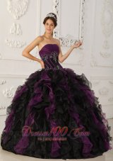 Strapless Puffy Ball Gown Black and Purple Gown for Quinceanera